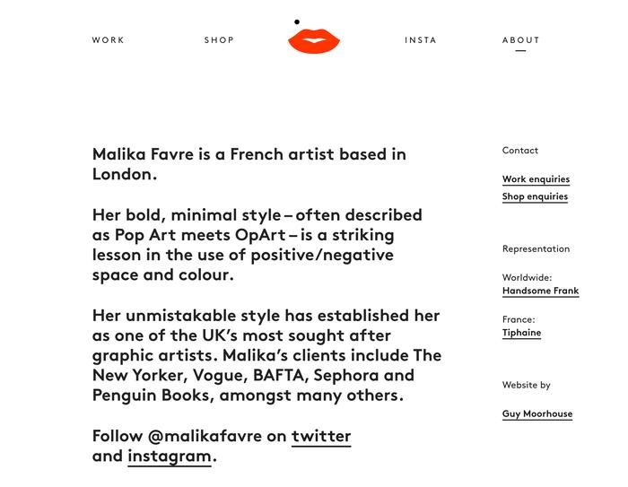 Malika Favre portfolio site 7