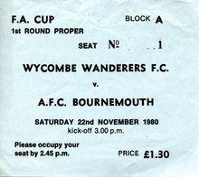 Wycombe Wanderers football match ticket