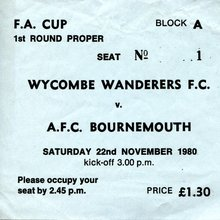 Wycombe Wanderers football match ticket