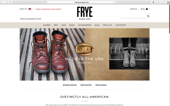 The Frye Company website 1