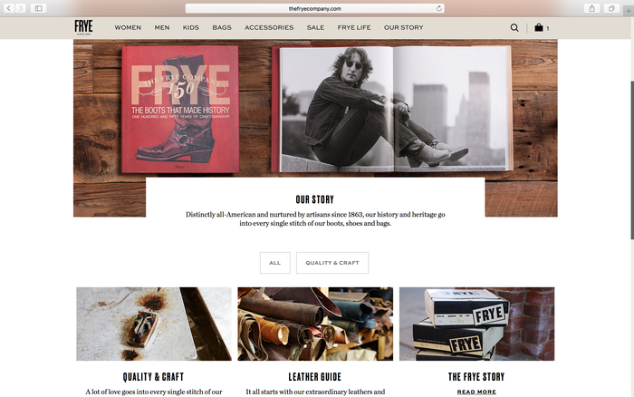 The Frye Company website 4