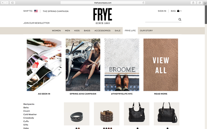 The Frye Company website 5