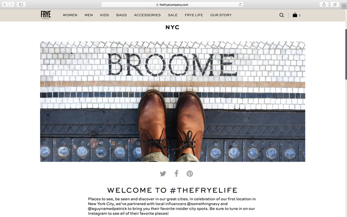 The Frye Company website 6
