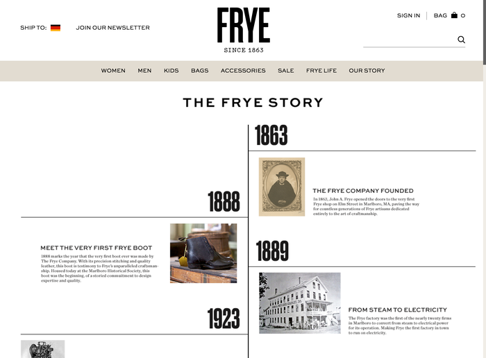 The Frye Company website 7