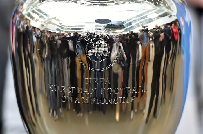 The front side of the trophy has a UEFA logo and a label using what is likely a standard engraver's template of a serif roman.