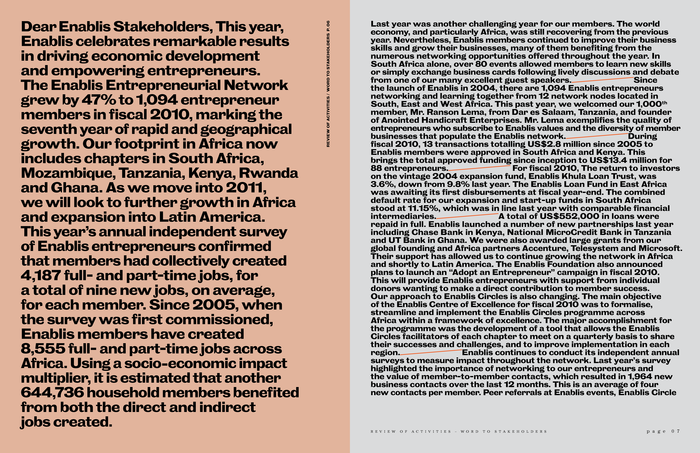 Enablis Annual Report 2010: I Am One Thousand 4