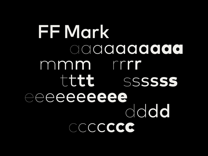 Designed by Hannes von Döhren and Christoph Koeberlin in 2013, FF Mark filled a gap in FontFont's library: a geometric sans with a large lowercase. This sample image is by Pentagram, who is admirably steadfast in crediting the type they use.