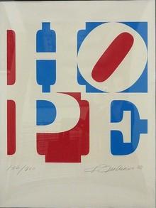 <cite>HOPE</cite> print and sculptures