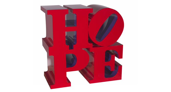HOPE (Red/Violet), 2009. Painted aluminum. 18 × 18 × 9 in. 45.7 × 45.7 × 22.9 cm.