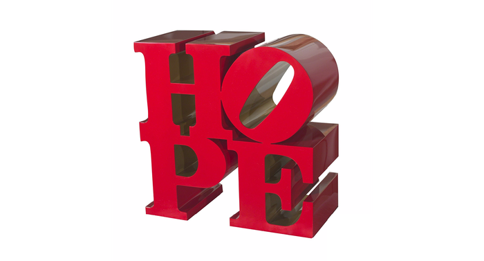 HOPE (Red/Gold), 2009. Painted aluminum. 36 × 36 × 18 in. 91.4 × 91.4 × 45.7 cm.