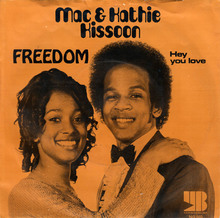 "Mac & Kathie Kissoon – ""Freedom"" / ""Hey You Love"" Dutch single cover"