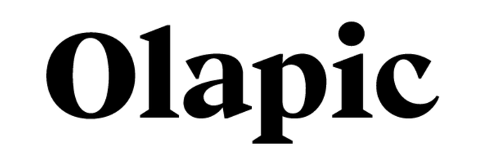 The Olapic logo is likely custom lettering. Its structure has a lot in common with Beirut Poster by Luzi Type (compare), with curves added to the characteristic wedge serifs. The previous logo was designed by Tam Cai using MuseoSans.