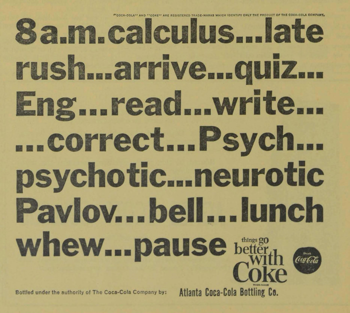 Coke student ads (Agnes Scott News, 1963–64) 2