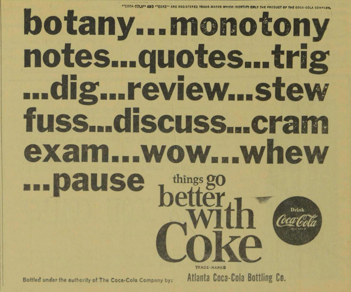 Coke student ads (Agnes Scott News, 1963–64) 1