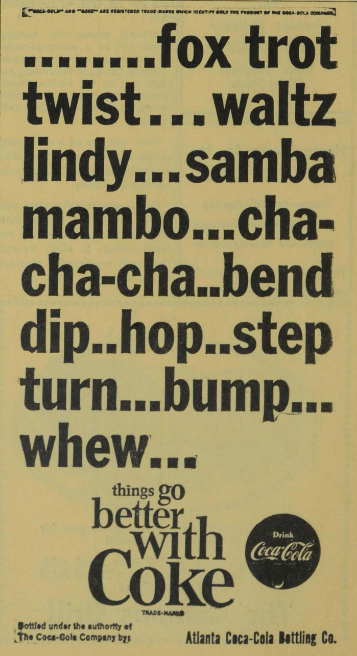 Coke student ads (Agnes Scott News, 1963–64) 3