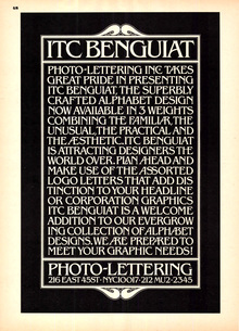 Photo-Lettering ITC Benguiat ad