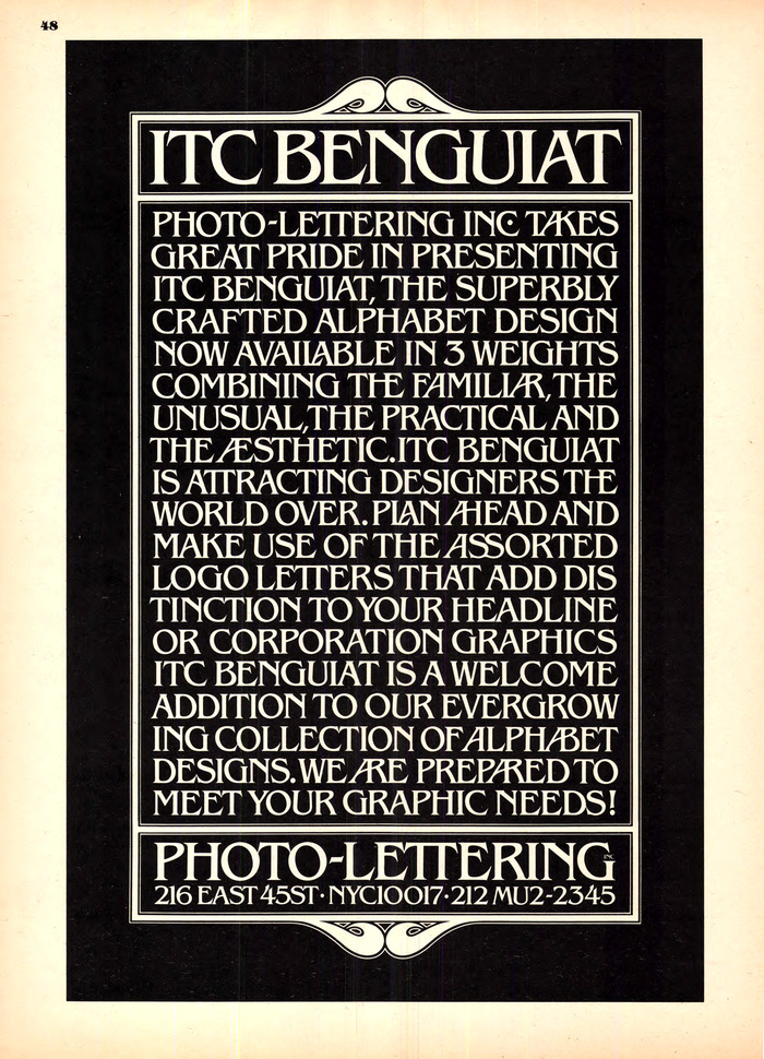 Photo-Lettering ITC Benguiat ad