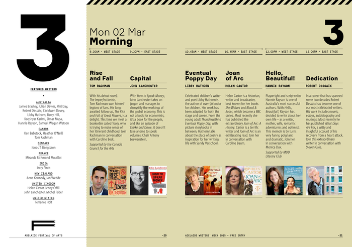The Writers' Week Guide was designed by Voice® and DesignLab. The text typeface used for this booklet is Corpid Condensed (LucasFonts). Here, the eye-catching numerals are taken from Formular Black.
