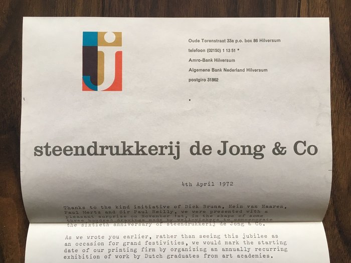 Correspondence from 1972 typed on Steendrukkerij de Jong & Co letterhead.