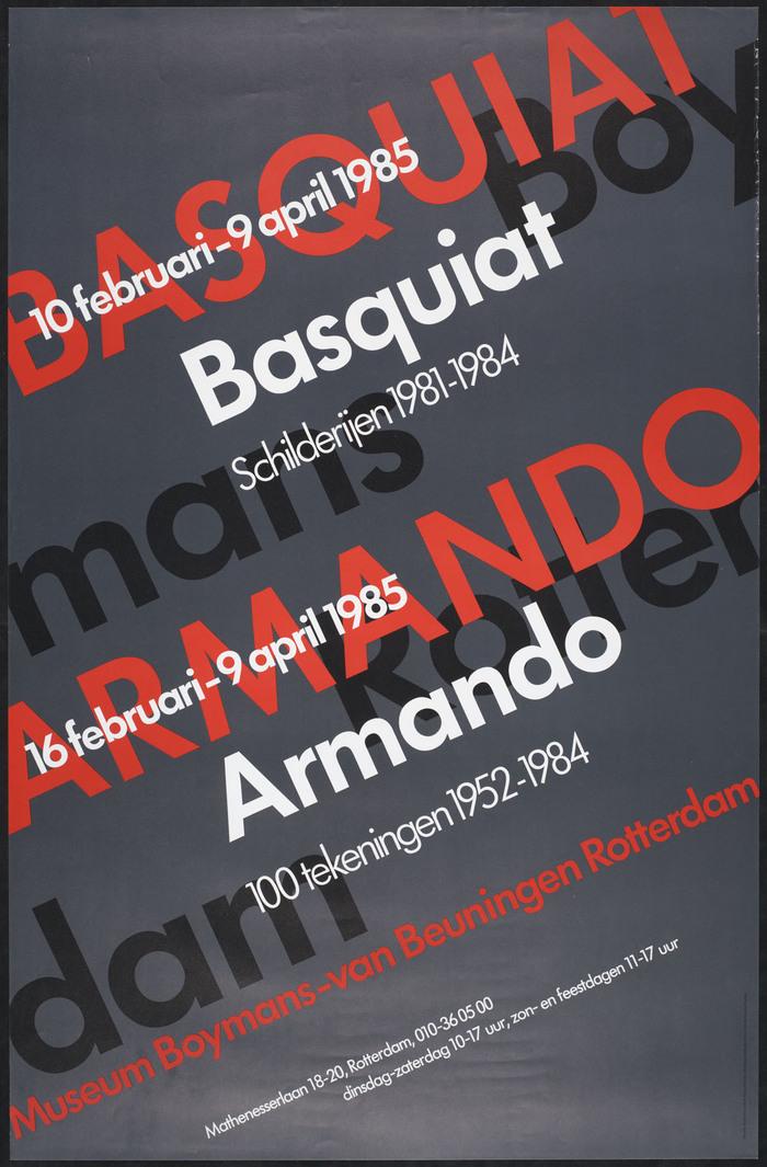Basquiat schilderijen 1981–1984, Armando 100 tekeningen 1952–1984 poster