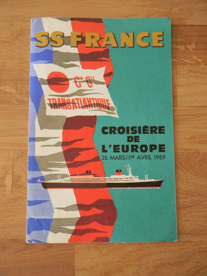"""Cover: Hand lettered """"SS France"""" with Antique Olive Compact and Futura."""