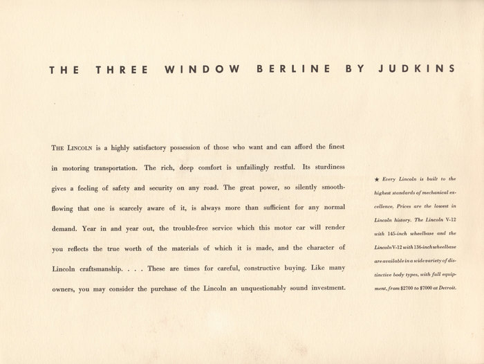 1933 Lincoln Three Window Berline brochure 2