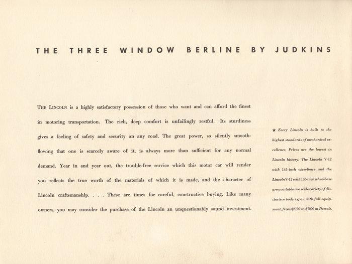 1933 Lincoln Three Window Berline brochure 2