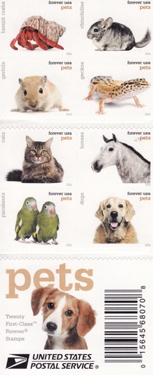 "USPS ""Pets"" postage stamps"
