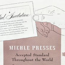 "Miehle Presses ad: ""Accepted Standard Throughout the World"""