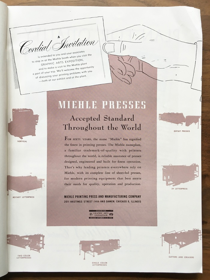 """Miehle Presses ad: """"Accepted Standard Throughout the World"""""""
