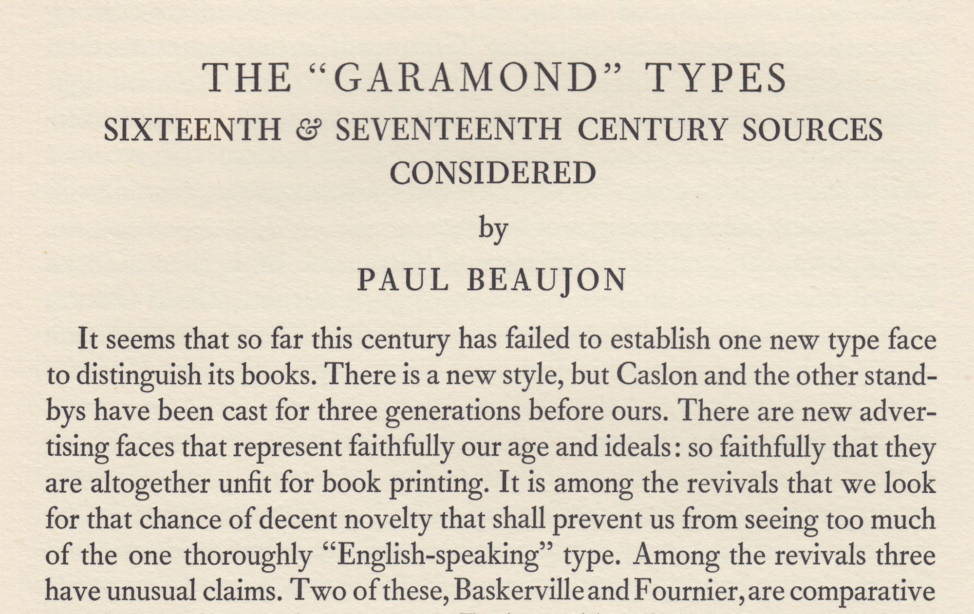 The Garamond Types Considered in The Fleuron No  5 - Fonts