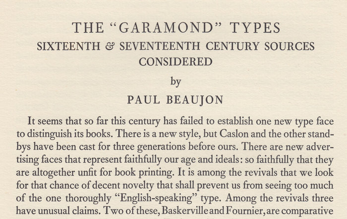 The Garamond Types Considered in The Fleuron No. 5 1