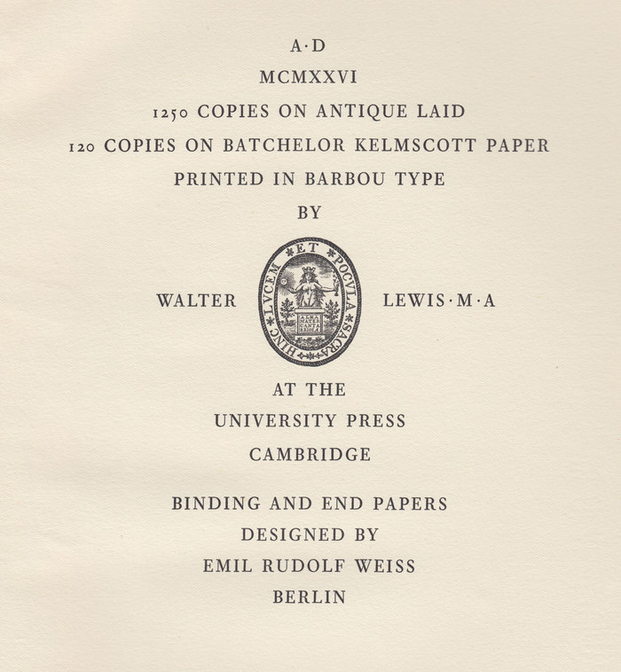 Colophon page from the end of this issue of The Fleuron.