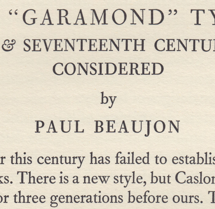 "A closer look at that first page. Note that lovely four-terminal 'w'. ""GARAMOND"" is set in Fournier, as Barbou was only cut in sizes up to 12pt."