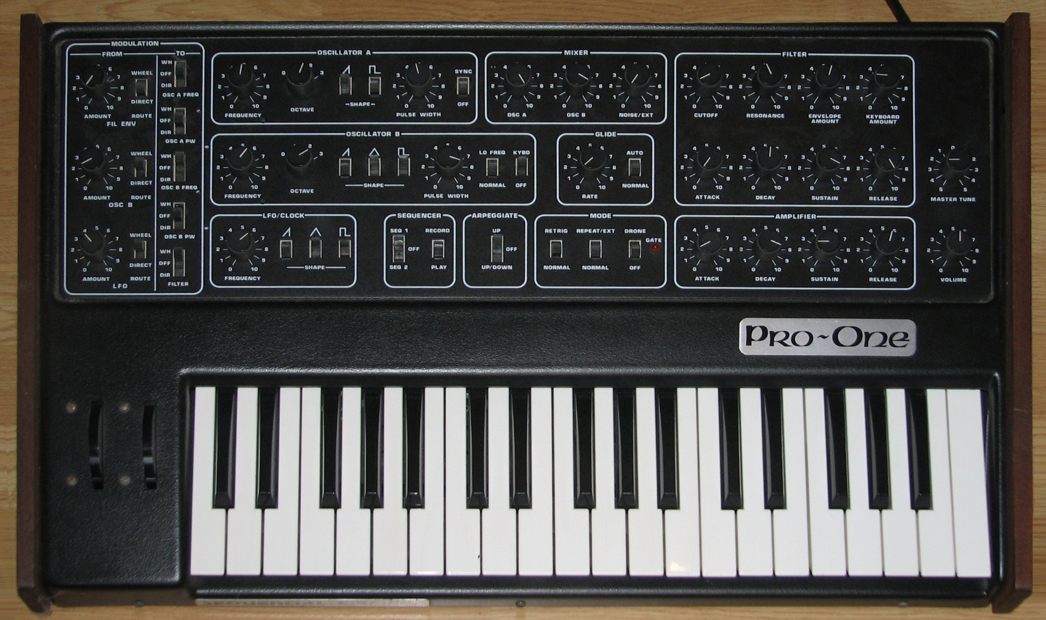 Sequential Circuits Pro One synthesizer and manual - Fonts