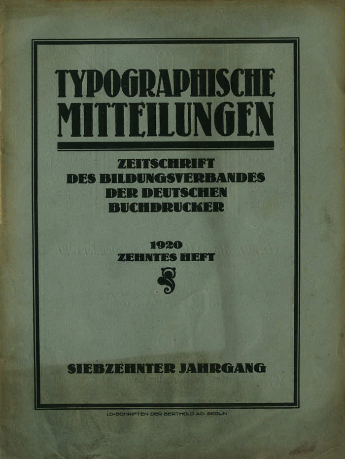Typographische Mitteilungen, Vol.17, No.10, Oct.1920