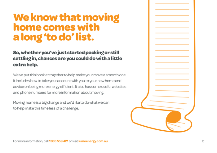 Pages from a leaflet with a moving home checklist