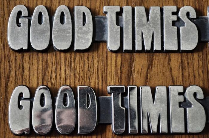 Good Times badges (closeup).