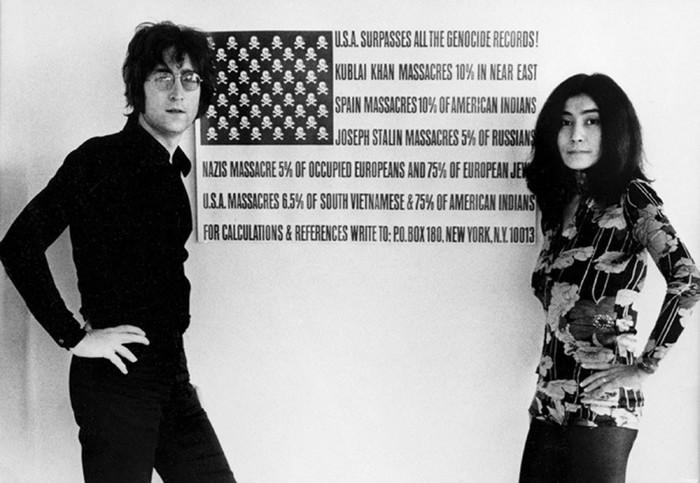 John Lennon and Yoko Ono with the print, c.1970. Photo from press kit for The U.S. Versus John Lennon.