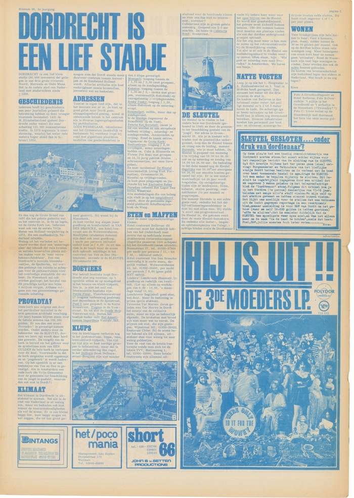 """Hitweek 36, Vol. 3 """"Dordrecht is a sweet little town"""", """"It's Out!! The third album by The Mothers"""", advertisement for We're Only In It For The Money. Headlines set in Egyptienne."""