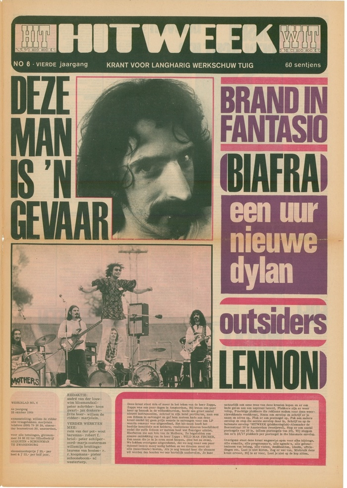 """October 25, 1968, Vol. 4 No. 6. """"This man is a peril"""". Headlines on the right hand use Folio Condensed. The top of the lowercase t has diagonal terminals, a feature that was lost in digitizations of Folio."""