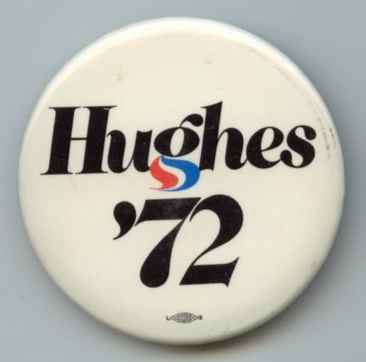 Harold Hughes 1972 campaign logo, button, sticker 1