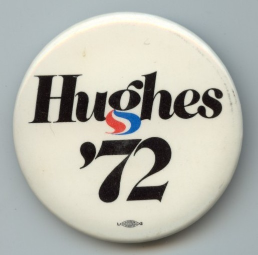 Harold Hughes 1972 campaign logo, button, sticker 1