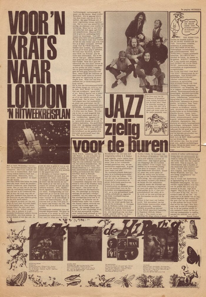 """September 29, 1967 / Vol. 3 No. 2. """"To London for next to nothing"""" uses Schmalfette Grotesk and """"Jazz: sad for the neighbours"""" uses Folio Condensed."""