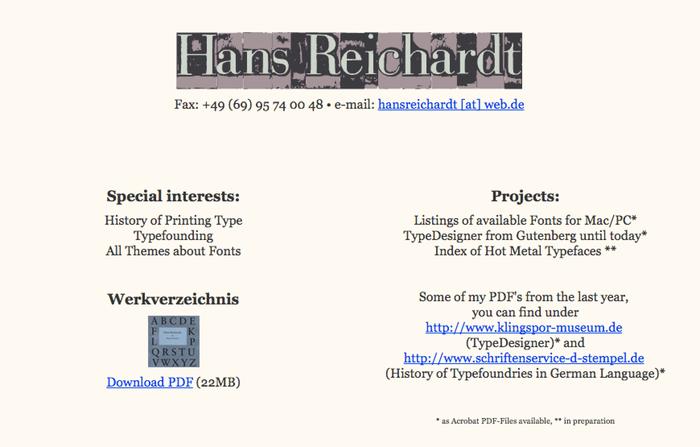 Hans Reichardt's website