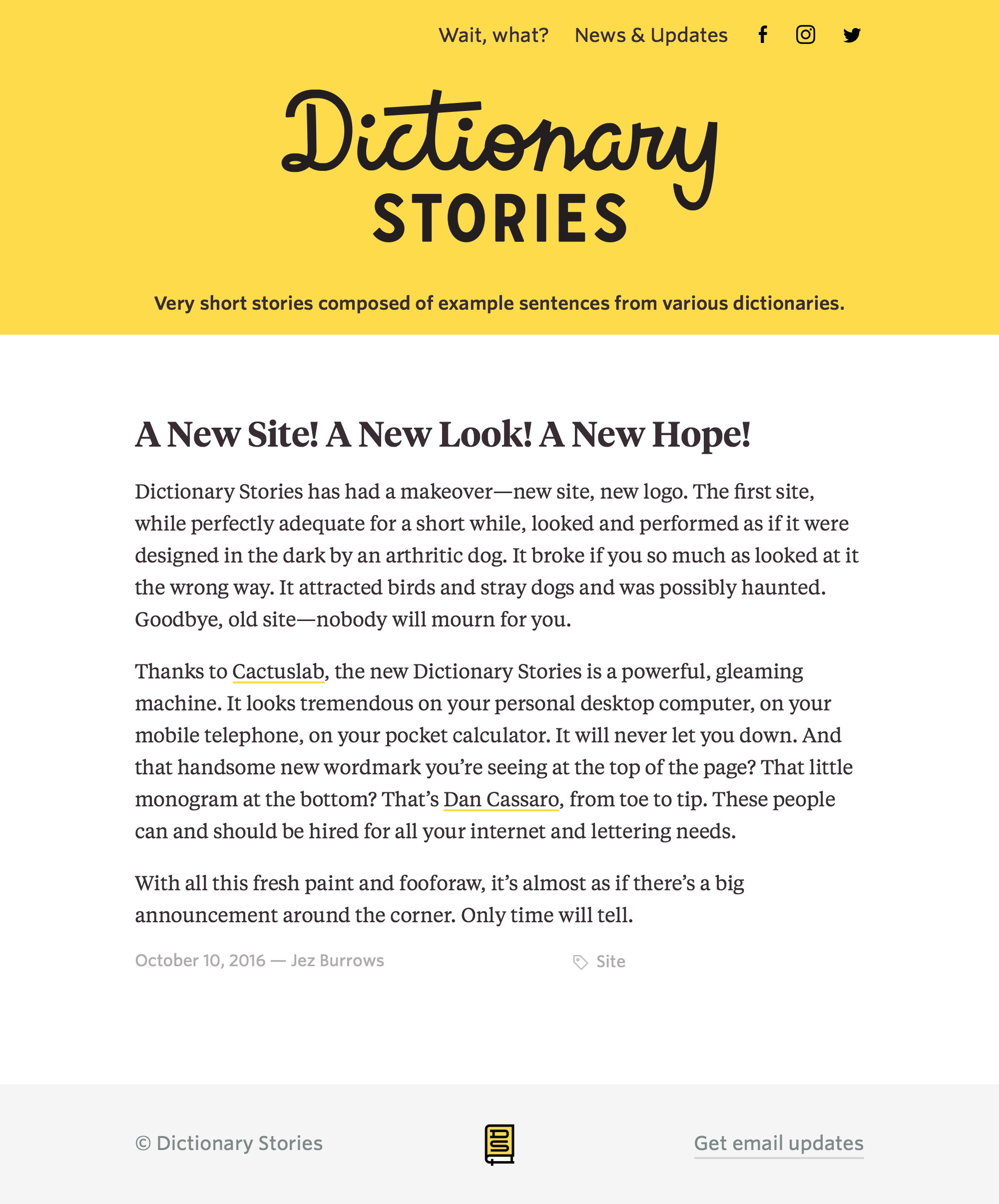 Dictionary Stories website - Fonts In Use
