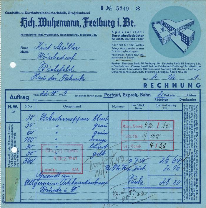 Hch. Wuhrmann invoice, 1941