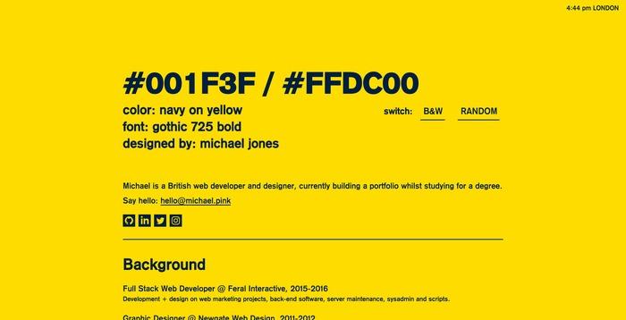 Michael Jones portfolio site 1