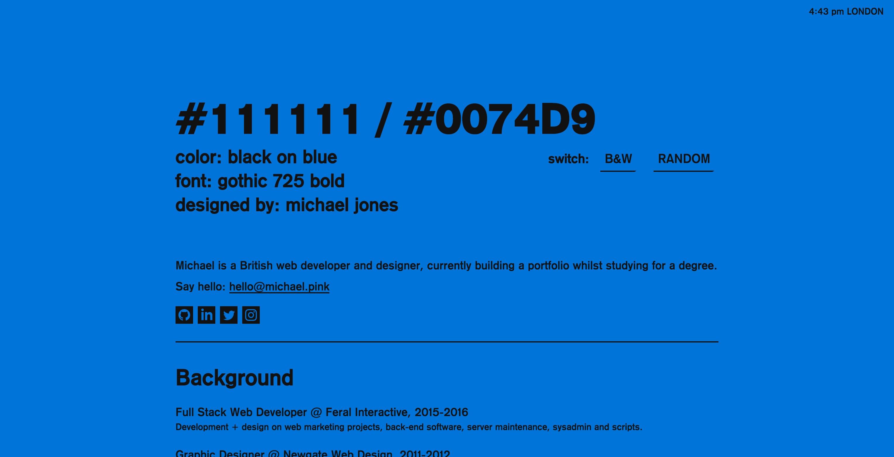 Michael Jones portfolio site - Fonts In Use