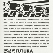 "Futura Bold ad: ""the type of today and tomorow"""